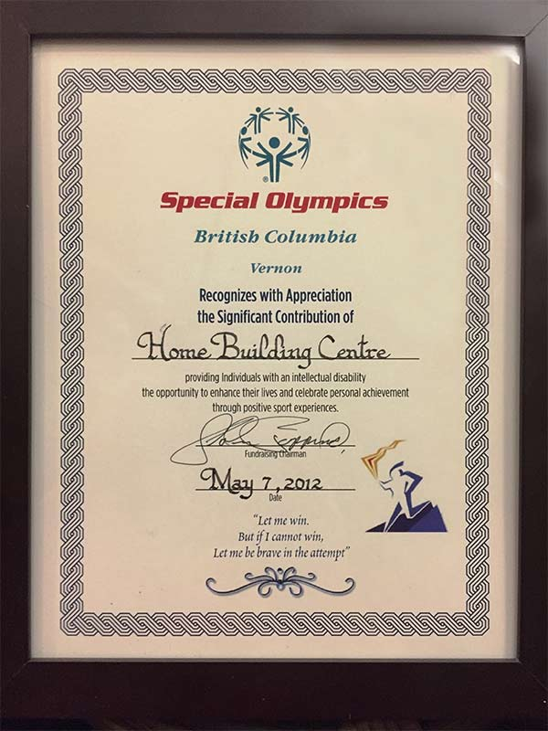 Special Olympic Contribution Certificate 2012