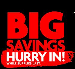 Extra Big Savings - Hurry in logo