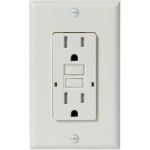 Electrical Devices 15 amp white tamper resistant gfi receptacle with plate