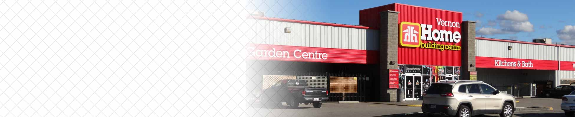 Home Building Centre - Vernon - Store Front and Gradient Background