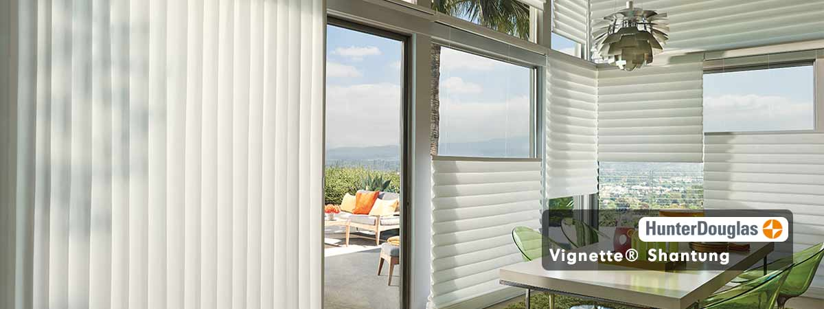 Hunter Douglas Vignette Shantung Blinds - Ming Porcelain Color