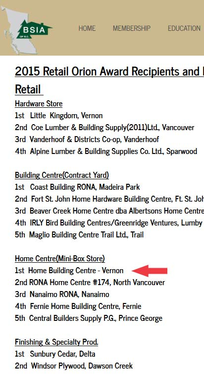 2015 Orion Award Recipients - BSIA BC Canada (Mobile Screen Shot)