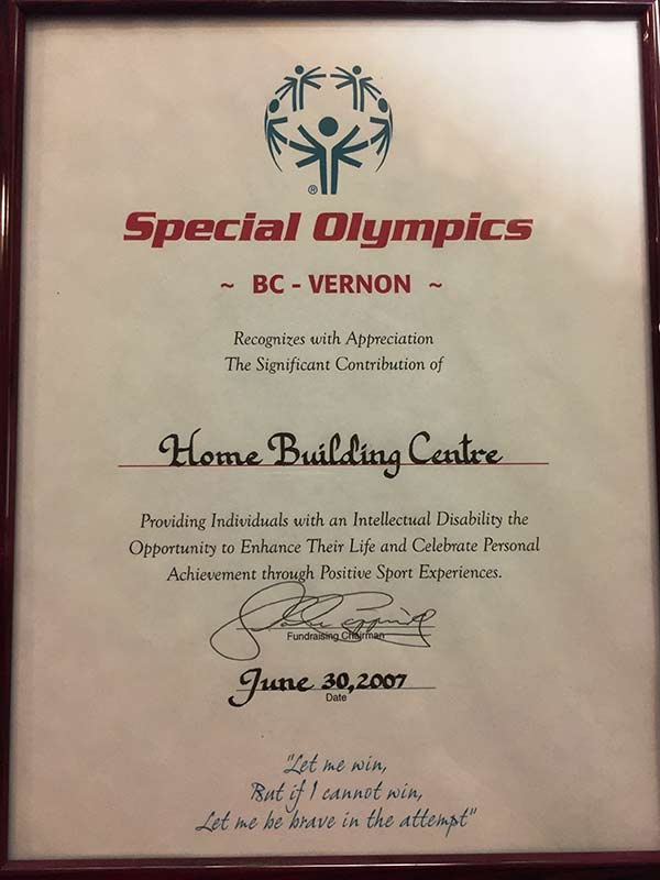 Special Olympic Contribution Certificate 2007