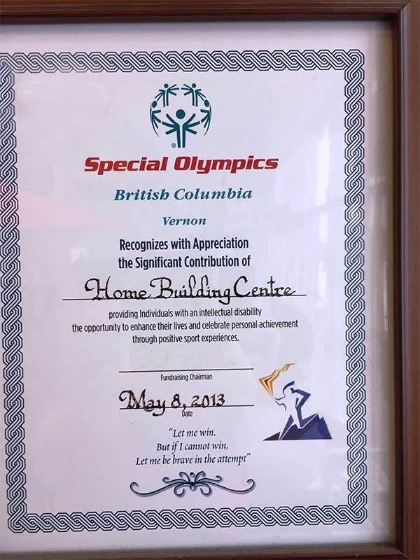 Special Olympic Contribution Certificate 2013