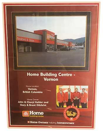Home Building Centre Vernon Acheivement Award