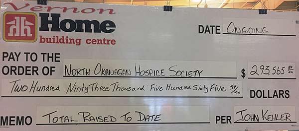 Hospice - Home Building Centre Donation Cheque