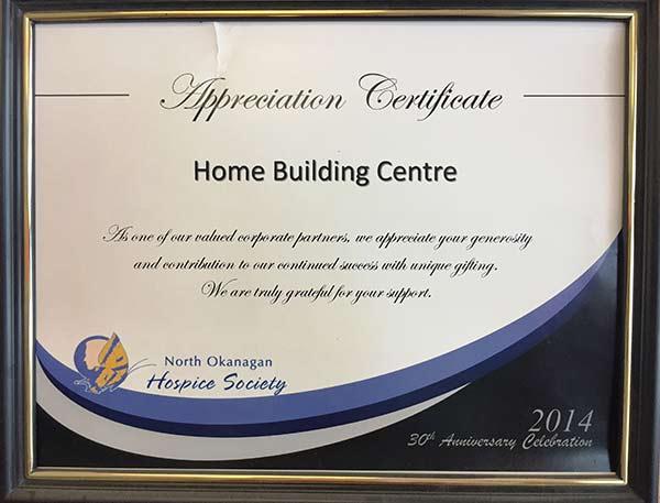 Hospice Society Appreciation Certificate Home Building Centre