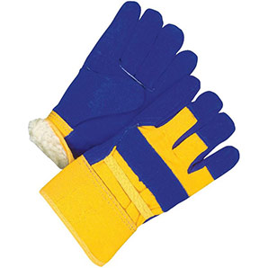 Bob Dale-Men's Blue & Yellow Large-Extra Large Split Leather Combo Lined Work Gloves